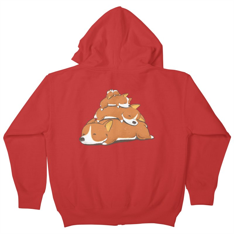 Comfy Bed - CORGI Kids Zip-Up Hoody by Flying Mouse365