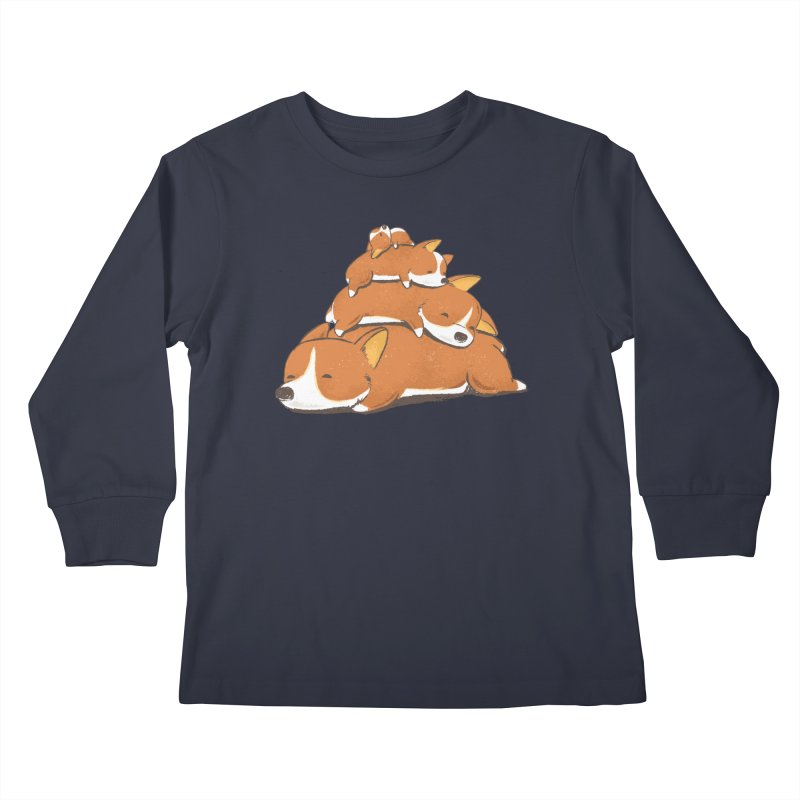 Comfy Bed - CORGI Kids Longsleeve T-Shirt by Flying Mouse365