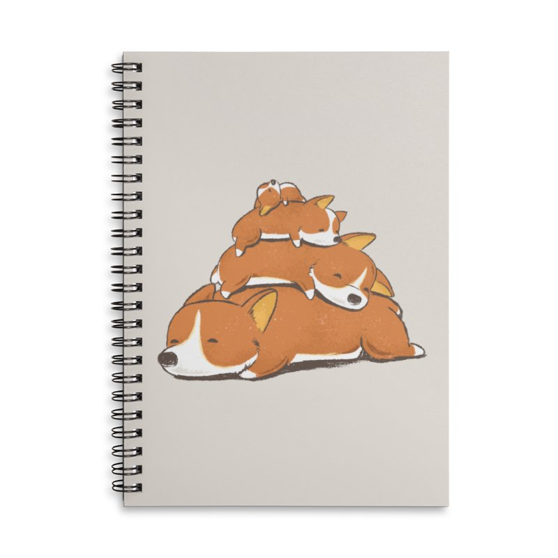 Comfy Bed - CORGI Accessories Lined Spiral Notebook by Flying Mouse365