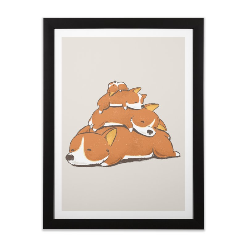 Comfy Bed - CORGI Home Framed Fine Art Print by Flying Mouse365