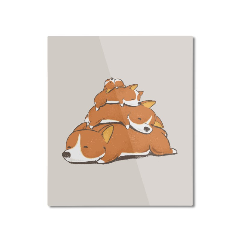 Comfy Bed - CORGI Home Mounted Aluminum Print by Flying Mouse365