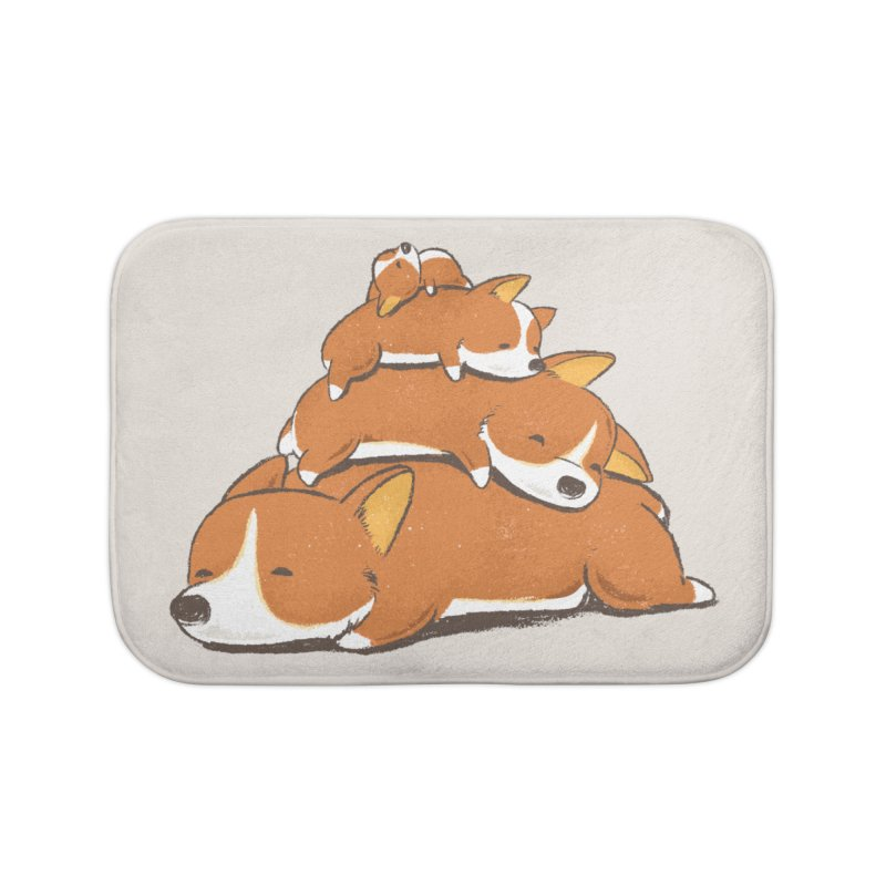 Comfy Bed - CORGI Home Bath Mat by Flying Mouse365