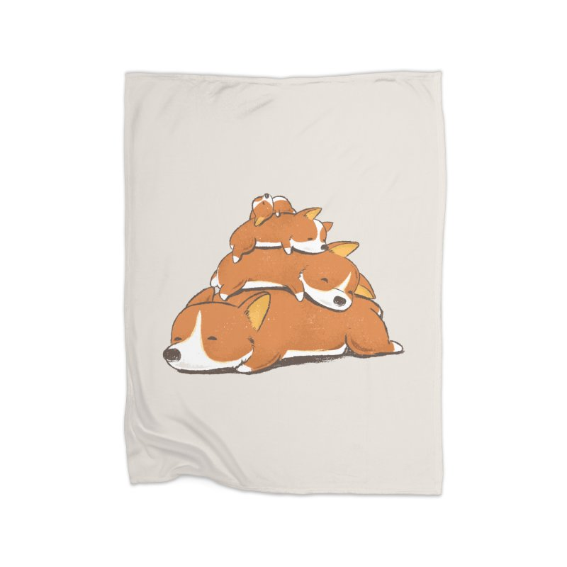 Comfy Bed - CORGI Home Fleece Blanket Blanket by Flying Mouse365
