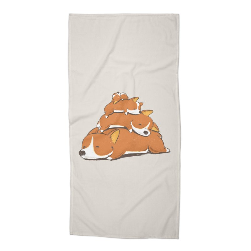 Comfy Bed - CORGI Accessories Beach Towel by Flying Mouse365