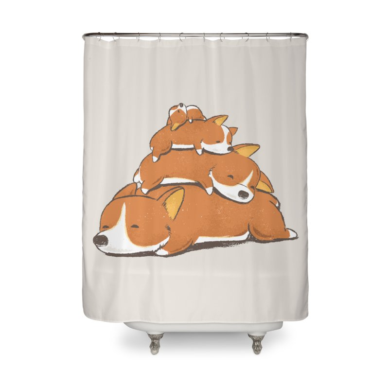 Comfy Bed - CORGI Home Shower Curtain by Flying Mouse365