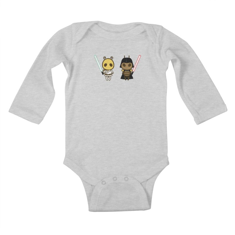 Bee Opposite - Good and Bad Kids Baby Longsleeve Bodysuit by Flying Mouse365