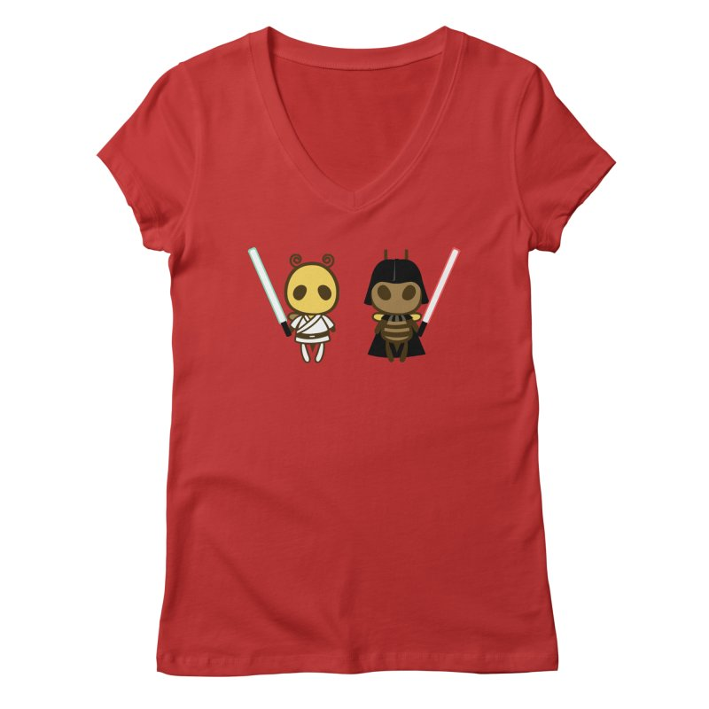 Bee Opposite - Good and Bad Women's V-Neck by Flying Mouse365