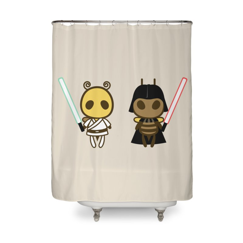 Bee Opposite - Good and Bad Home Shower Curtain by Flying Mouse365