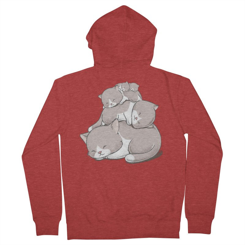 Comfy Bed - CAT Women's French Terry Zip-Up Hoody by Flying Mouse365