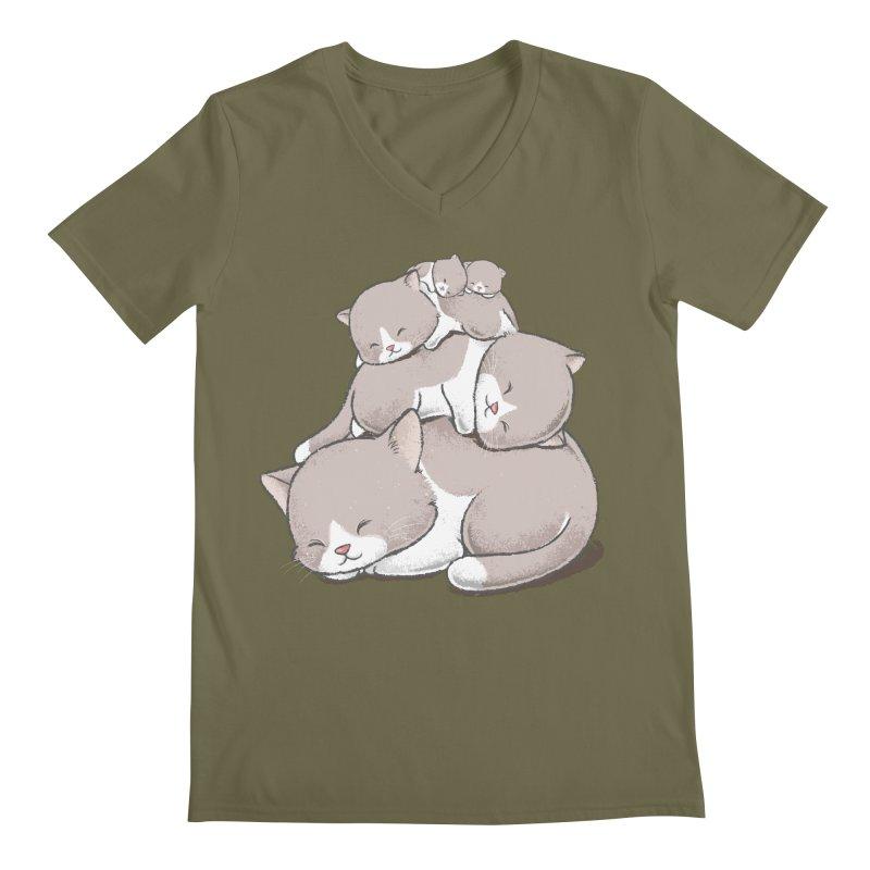 Comfy Bed - CAT Men's Regular V-Neck by Flying Mouse365