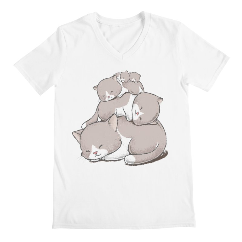 Comfy Bed - CAT Men's V-Neck by Flying Mouse365
