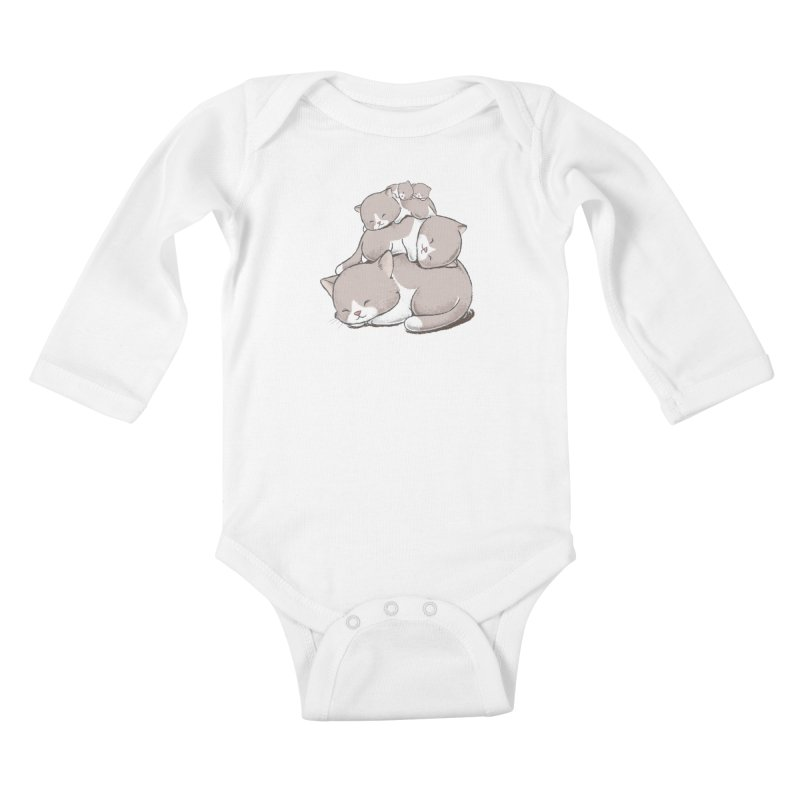 Comfy Bed - CAT Kids Baby Longsleeve Bodysuit by Flying Mouse365