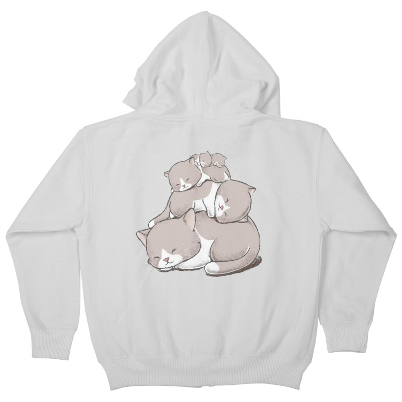 Comfy Bed - CAT Kids Zip-Up Hoody by Flying Mouse365
