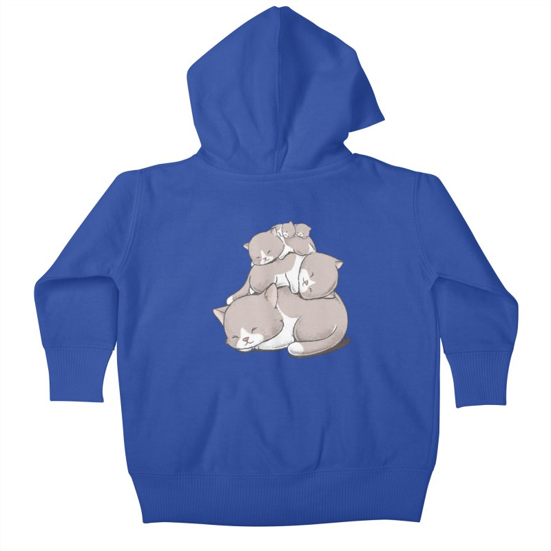 Comfy Bed - CAT Kids Baby Zip-Up Hoody by Flying Mouse365