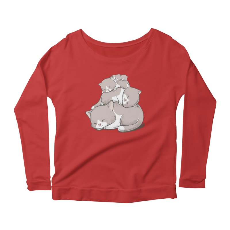 Comfy Bed - CAT Women's Scoop Neck Longsleeve T-Shirt by Flying Mouse365