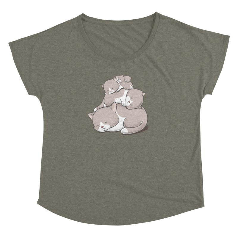 Comfy Bed - CAT Women's Dolman Scoop Neck by Flying Mouse365