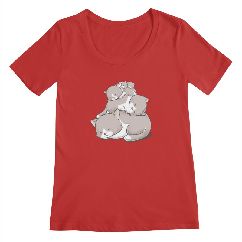 Comfy Bed - CAT Women's Regular Scoop Neck by Flying Mouse365