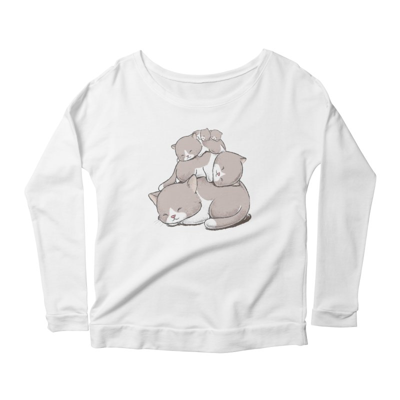 Comfy Bed - CAT Women's Longsleeve Scoopneck  by Flying Mouse365