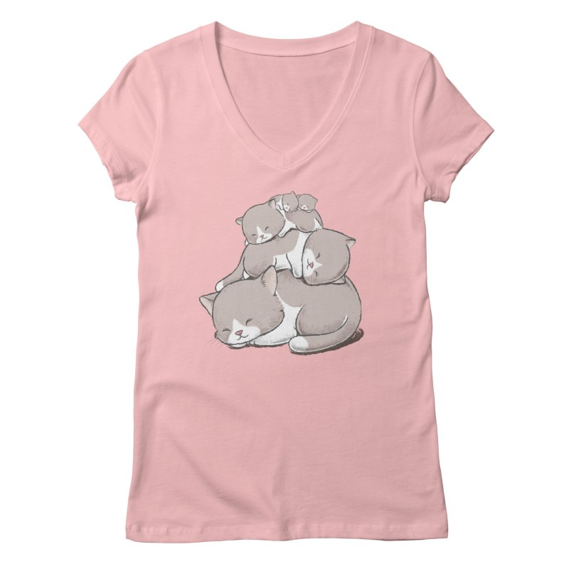 Comfy Bed - CAT Women's Regular V-Neck by Flying Mouse365