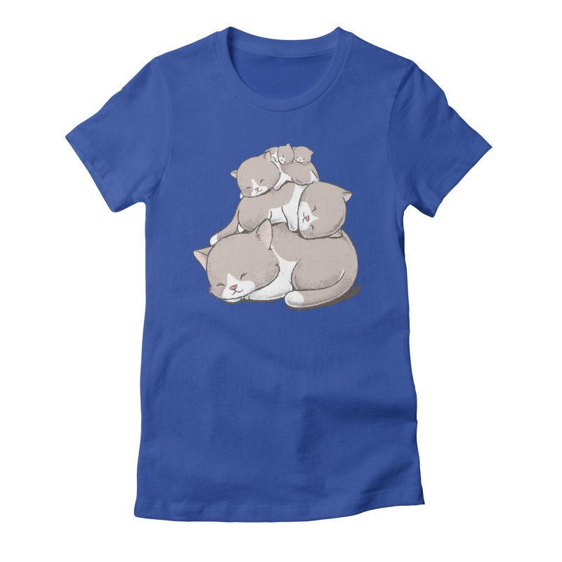 Comfy Bed - CAT Women's Fitted T-Shirt by Flying Mouse365
