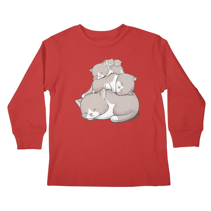 Comfy Bed - CAT Kids Longsleeve T-Shirt by Flying Mouse365