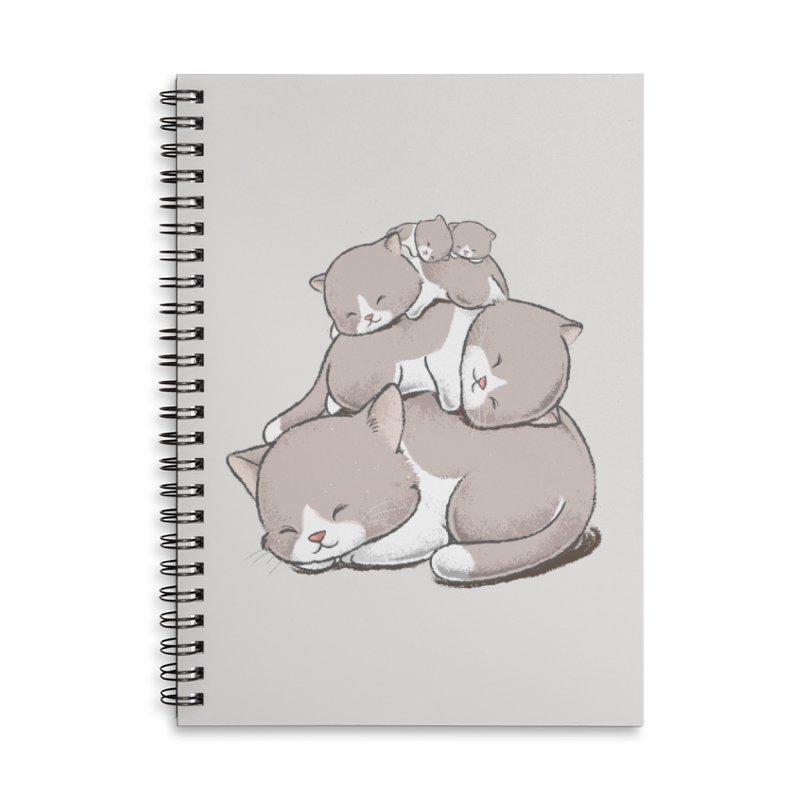 Comfy Bed - CAT Accessories Lined Spiral Notebook by Flying Mouse365