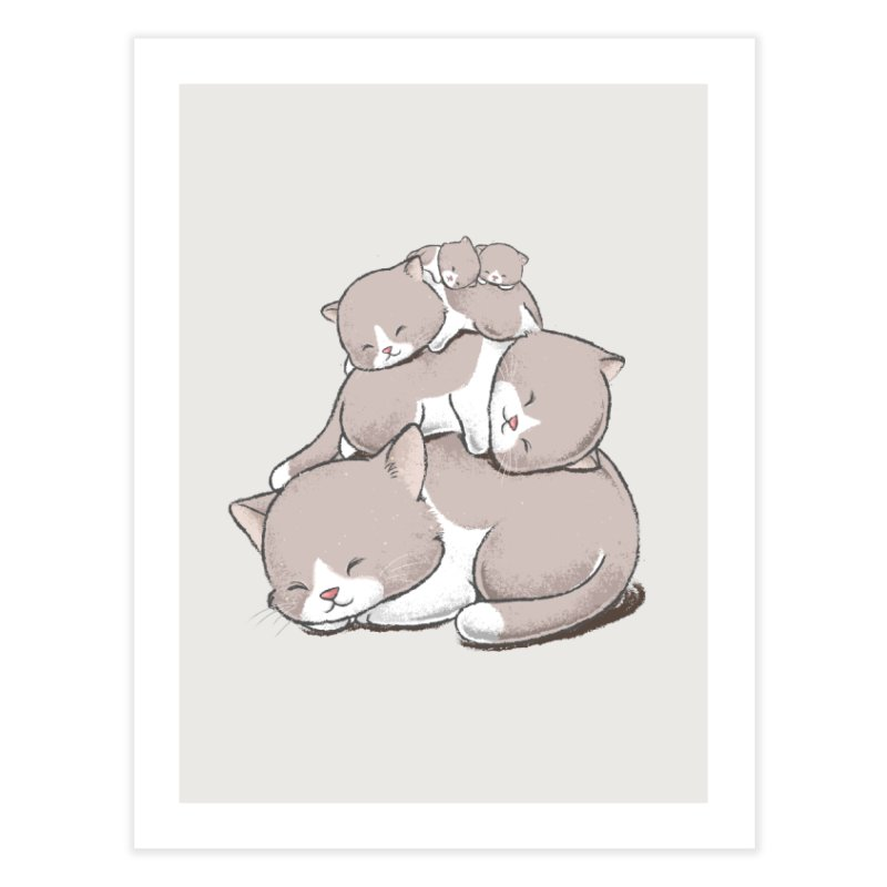 Comfy Bed - CAT Home Fine Art Print by Flying Mouse365