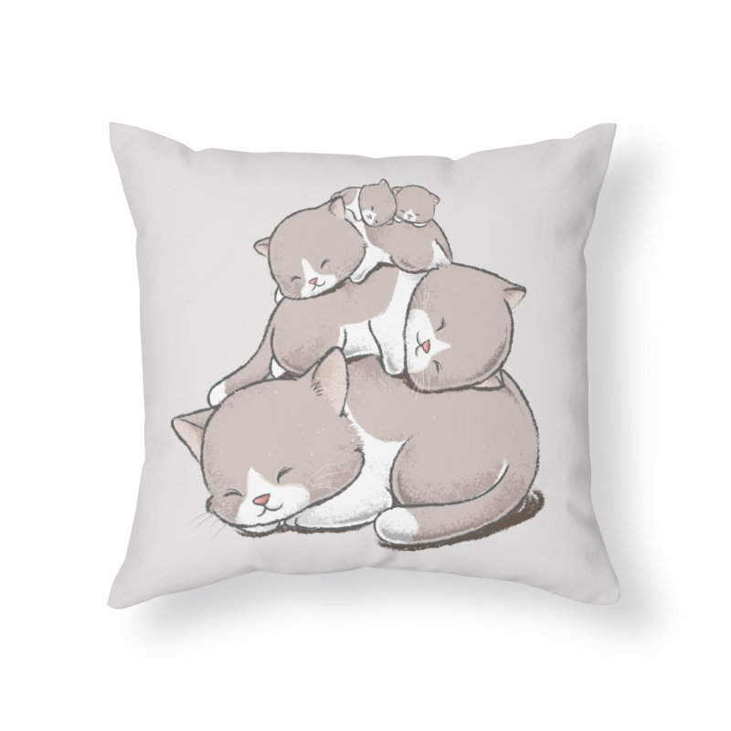 Comfy Bed - CAT Home Throw Pillow by Flying Mouse365