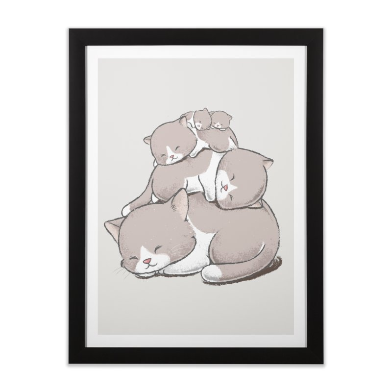 Comfy Bed - CAT Home Framed Fine Art Print by Flying Mouse365