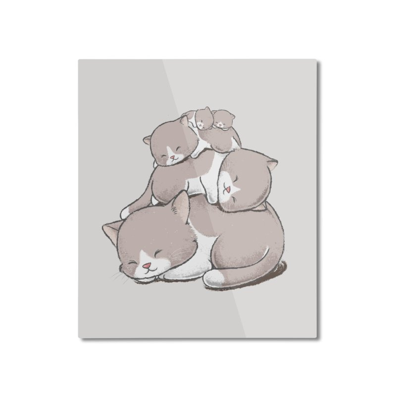 Comfy Bed - CAT Home Mounted Aluminum Print by Flying Mouse365