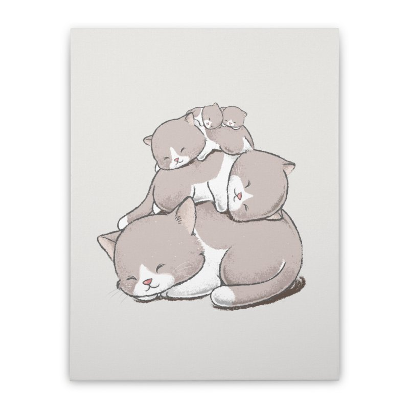 Comfy Bed - CAT Home Stretched Canvas by Flying Mouse365