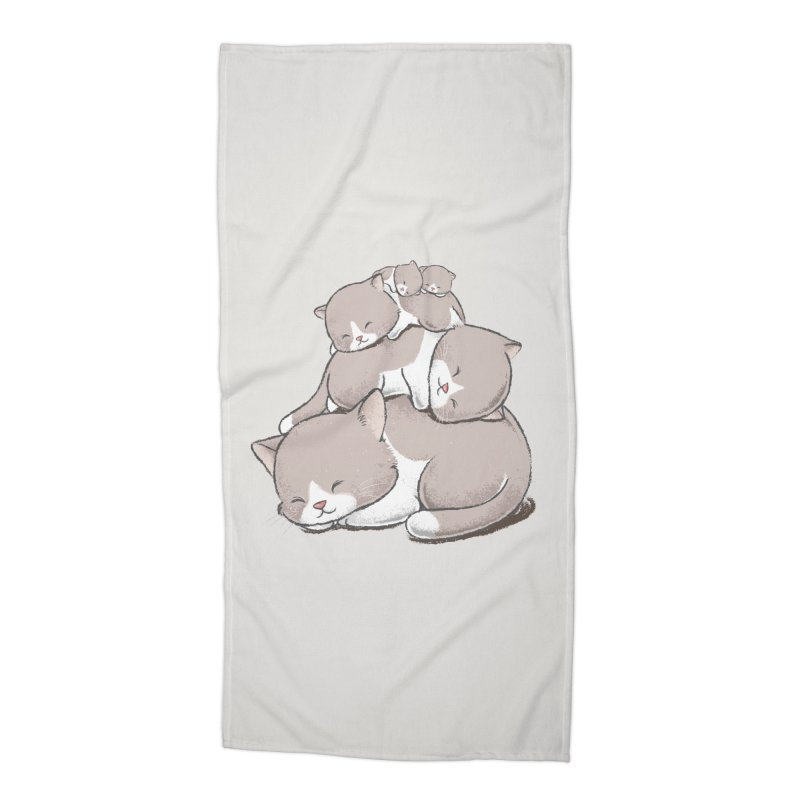 Comfy Bed - CAT Accessories Beach Towel by Flying Mouse365