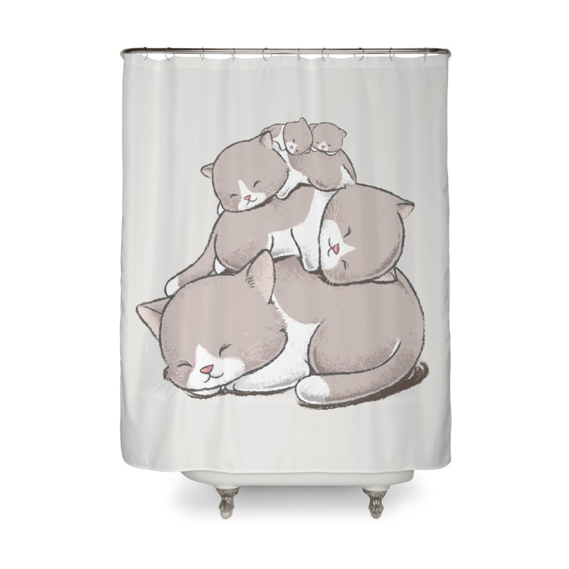Comfy Bed - CAT Home Shower Curtain by Flying Mouse365