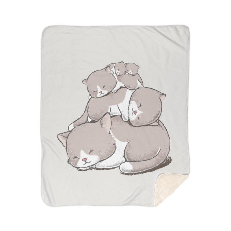 Comfy Bed - CAT Home Sherpa Blanket Blanket by Flying Mouse365