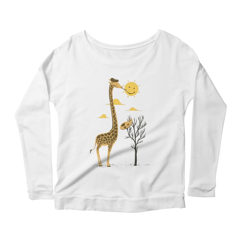 Painting Smiley Women's Scoop Neck Longsleeve T-Shirt by Flying Mouse365
