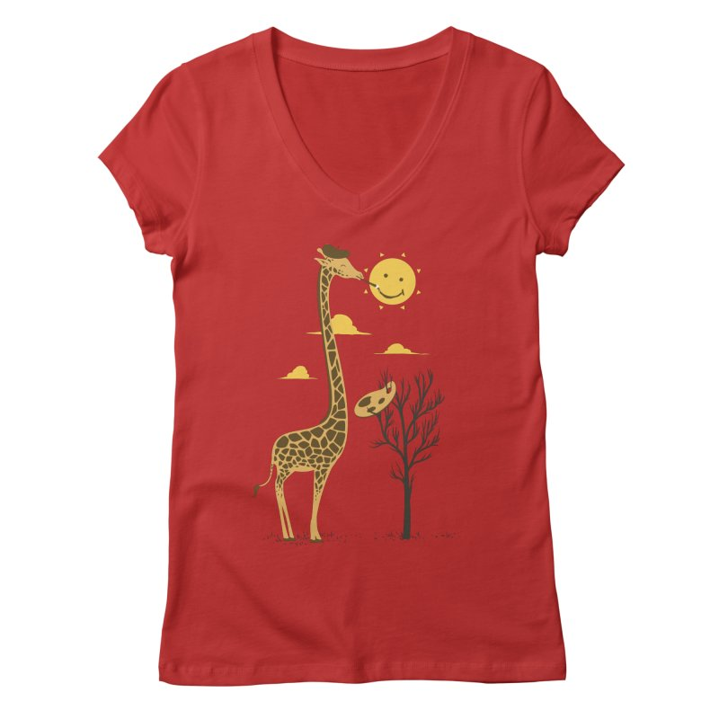 Painting Smiley Women's Regular V-Neck by Flying Mouse365