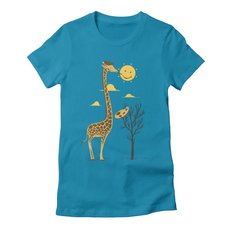 Painting Smiley Women's Fitted T-Shirt by Flying Mouse365