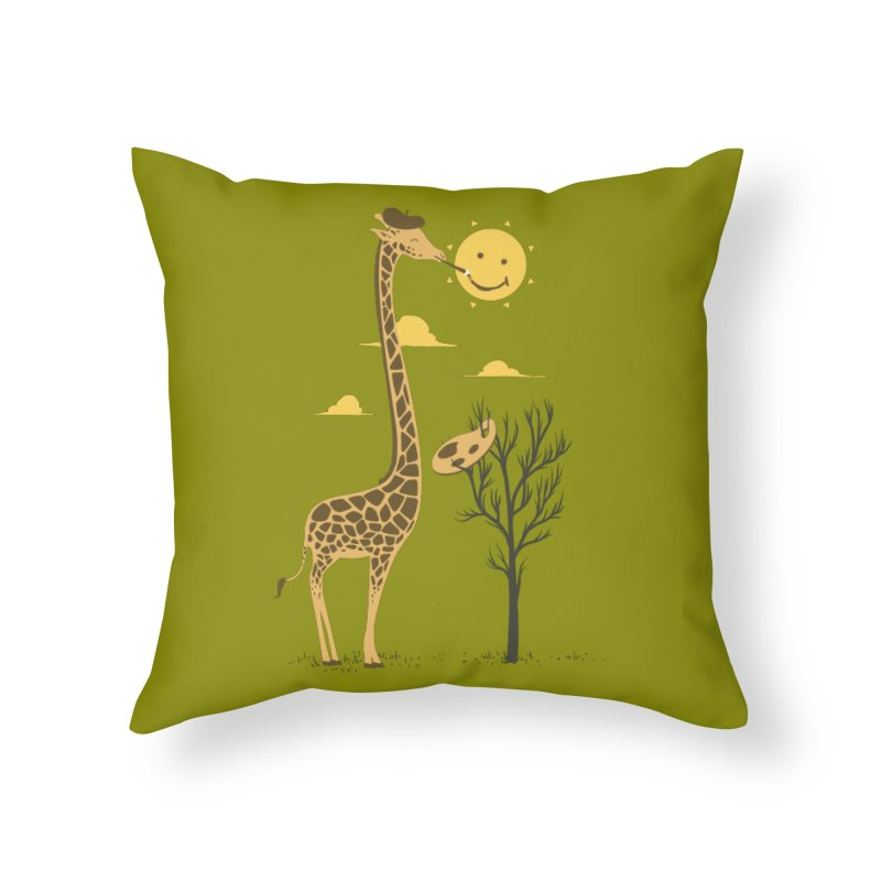 Painting Smiley Home Throw Pillow by Flying Mouse365