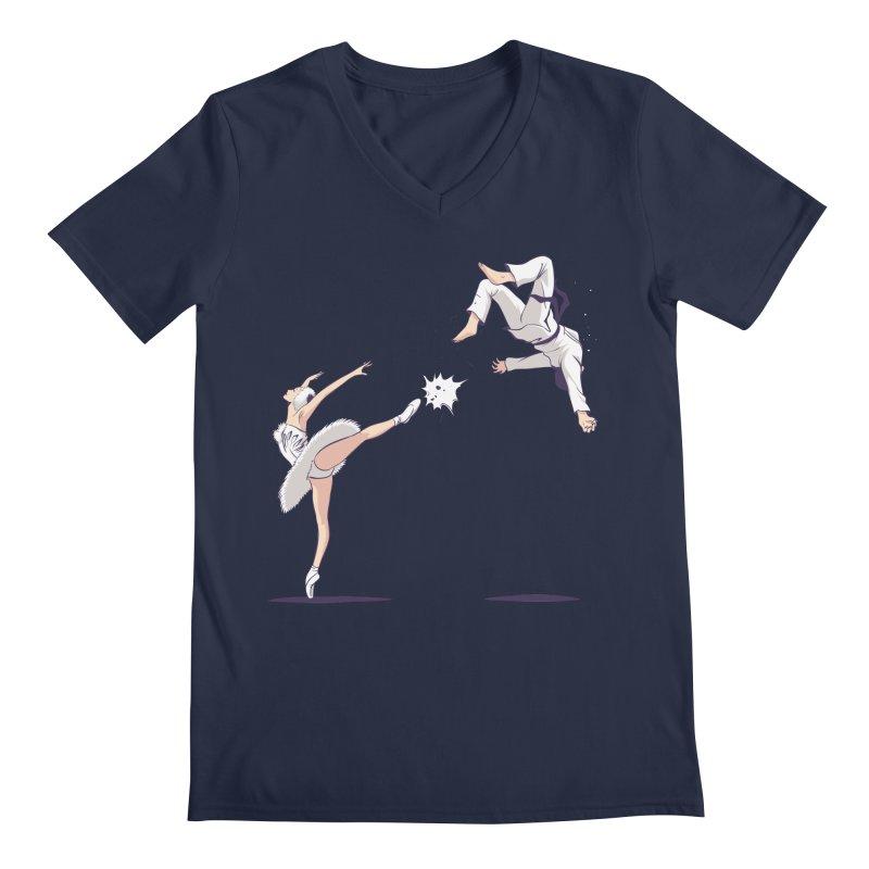 Swan Kick Men's V-Neck by Flying Mouse365