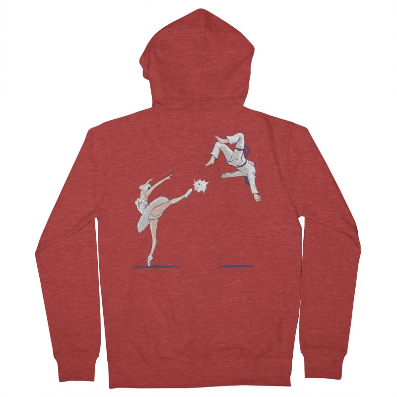 Swan Kick Women's French Terry Zip-Up Hoody by Flying Mouse365