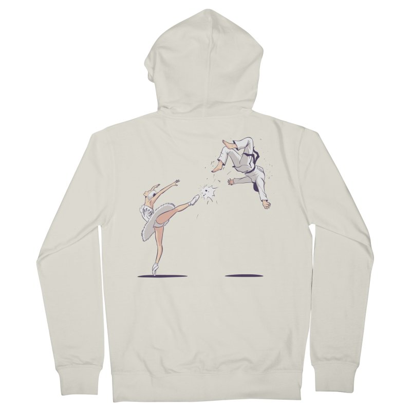 Swan Kick Men's French Terry Zip-Up Hoody by Flying Mouse365