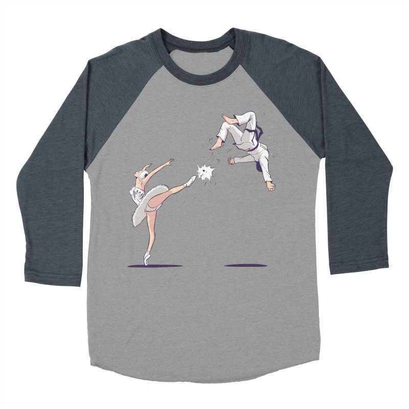 Swan Kick Men's Baseball Triblend Longsleeve T-Shirt by Flying Mouse365