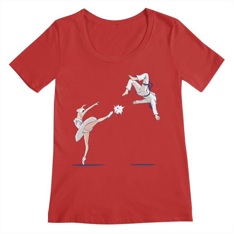 Swan Kick Women's Regular Scoop Neck by Flying Mouse365