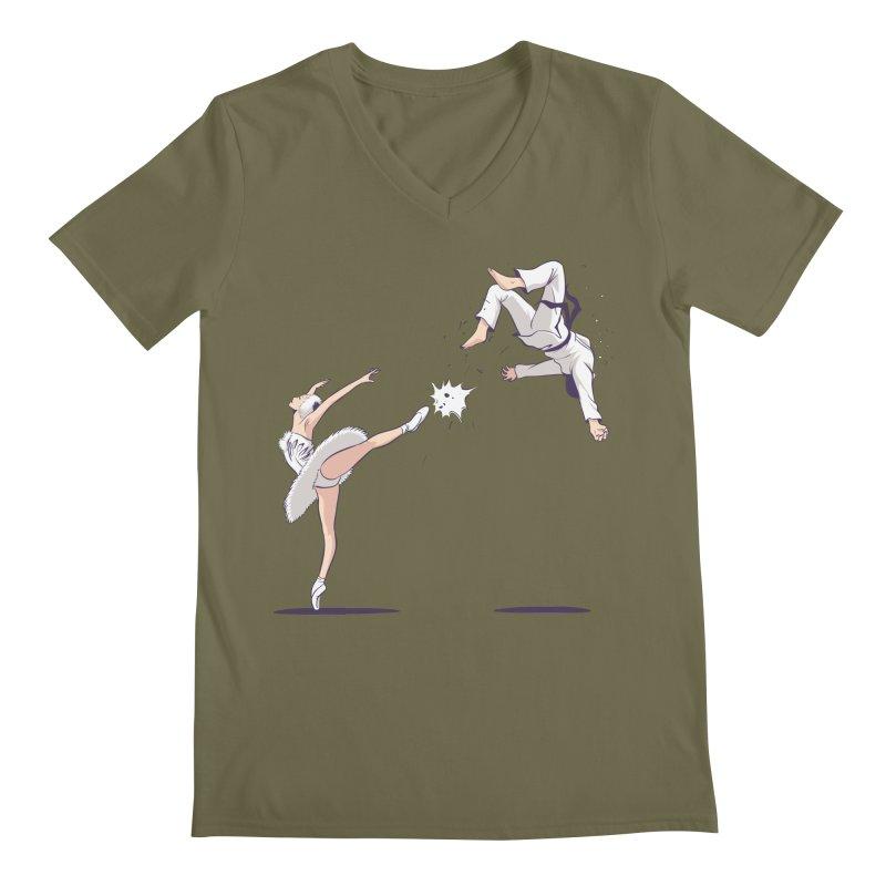 Swan Kick Men's Regular V-Neck by Flying Mouse365