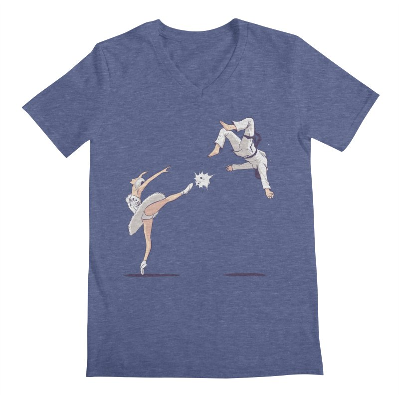 Swan Kick Men's Regular V-Neck by Flying Mouse365