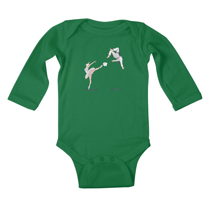 Swan Kick Kids Baby Longsleeve Bodysuit by Flying Mouse365