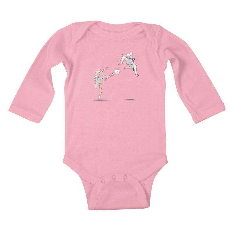 Swan Kick Kids Baby Longsleeve Bodysuit by Flying Mouse365