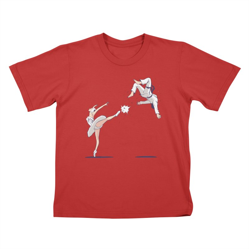 Swan Kick Kids T-Shirt by Flying Mouse365