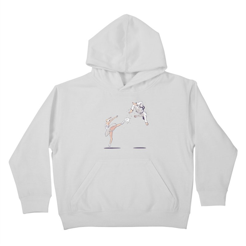 Swan Kick Kids Pullover Hoody by Flying Mouse365