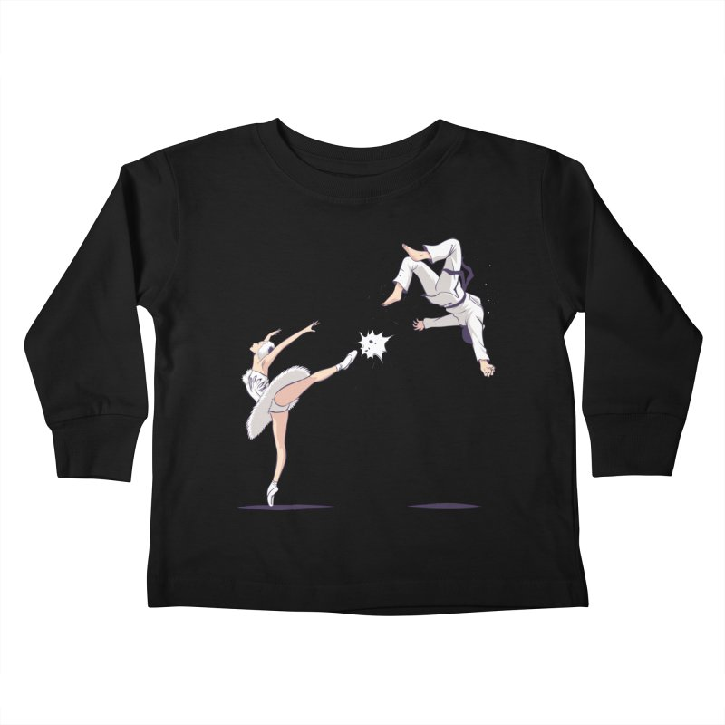 Swan Kick Kids Toddler Longsleeve T-Shirt by Flying Mouse365